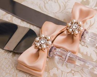 Rose Gold Cake Cutting Set, Rose Gold Wedding Cake Serving Set, Rose Gold Wedding Cake Server Set, Wedding Knife Set