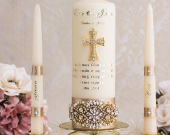 Gold Unity Candle Set Wedding Unity Candles Gold Wedding Candle Personalized Unity Candle Cross Unity Candle