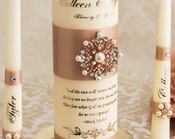 Rose Gold Wedding Unity Candle Set, Blush Wedding Candles Set, Pearl Unity Candle Set, Personalized Wedding Unity Candles