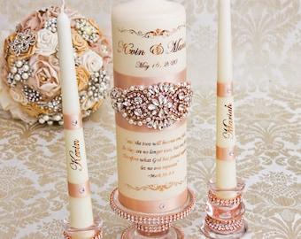 Rose Gold Unity Candle Set Rose Gold Wedding Unity Candles Blush Wedding Candle Personalized Unity Candle Rhinestone Unity Candle