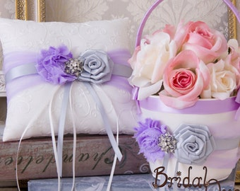 Flower Girl Basket, Ring Bearer Pillow, Wedding Basket and Pillow Set, Orchid and Silver