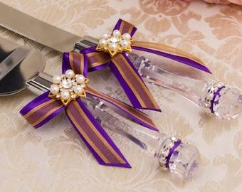 Wedding Cake Cutting Set, Purple and Gold Cake Serving Set, Gold Wedding Cake Server Set, Purple Wedding Knife Set