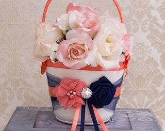 Navy Blue and Coral Flower Girl Basket, Flower Girl Basket, Petal Basket, Wedding Decor, Wedding Accessories, Custom Color Wedding