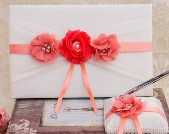 Coral Wedding Guest Book, Wedding Sign Book, Coral Guest Book, Guest Book Set, Coral Wedding