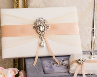 Wedding Guest Book, Rose Gold Guest Book with Pen Holder, Crystal Wedding Sign Book, Blush Guest Book, Rose Gold Wedding Accessories
