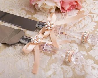 Rose Gold Wedding Cake Cutting Set, Cake Serving Set, Rose Gold Wedding Cake Server Set, Wedding Knife Set