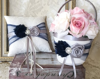 Navy and Gray Flower Girl Basket, Wedding Ring Bearer Pillow, Flower Girl Basket and Ring Pillow, Ring Bearer Pillow, Flower Girl Basket Set