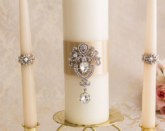 Champagne Unity Candles, Wedding Unity Candles Ceremony Crystal Unity Candles Set, Champagne Weding Candles Set, Custom color