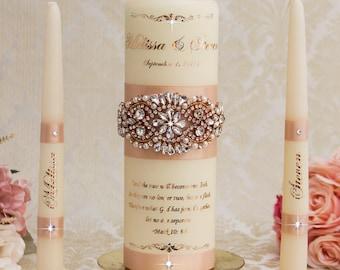 Rose Gold Unity Candle Set Rose Gold Wedding Unity Candles Blush Wedding Candle Personalized Unity Candle Rose Gold Foil Unity Candle