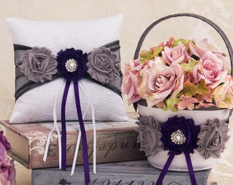 Plum and Dark Gray Ring Bearer Pillow and Flower Girl basket Set, Plum Flower Girl Basket, Gray Wedding Pillow
