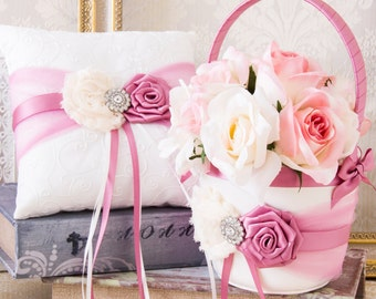 Pink Flower Girl Basket and Ring Bearer Pillow Set in Dusty Rose