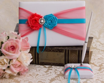 Coral and Turquoise Wedding Guest Book, Wedding Sign Book, Coral Guest Book, Guest Book Set, Coral Turquoise Wedding Accessories