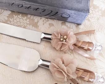 Cake Serving Set Cutting Set Knife Set Wedding Cake Serving Set Wedding Cake Server Set Champagne Tan Cake Set