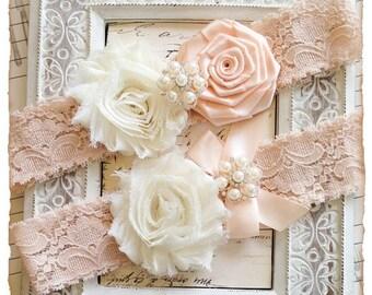 Wedding Garter set, Bridal Garter set, Blush Lace Garter set, Flower Garter, Blush Garter, Lace garter, Flower Garter set