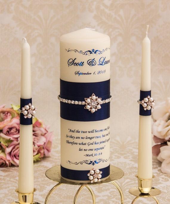 Personalized Wedding Unity Candle Set Navy Blue Unity Candles Blue Wedding Candles
