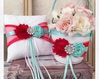 Flower Girl Basket, Aqua and Red Wedding Ring Bearer Pillow, Wedding Ring Pillow, Wedding Pillow, Flower Girl Basket, Ring Pillow