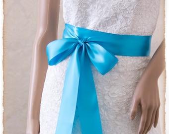 TURQUOISE Bridal Sash, Satin Ribbon Sash, Wedding Sash Belt, Satin Bridal Sash, Bridesmaids Sash, Bridal Belt, Blue Bridal Sash
