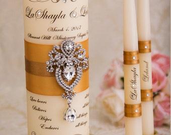 Golden Wedding Unity Candle Set, Unity Candles Set, Personalized Unity Candles, Gold Wedding Candles Set, Custom Wedding Candles