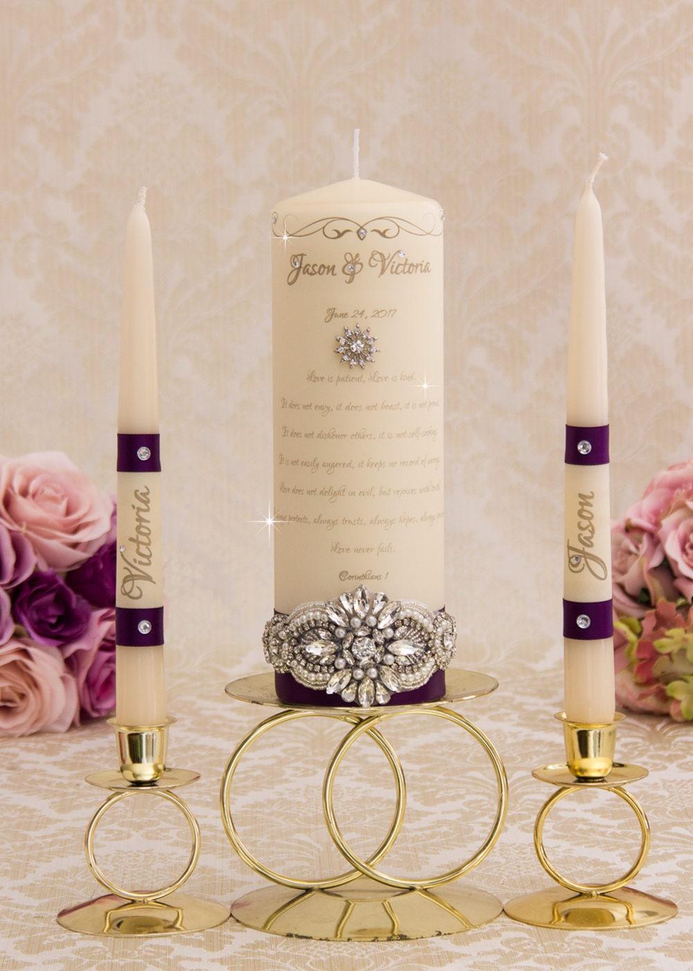 Purple Wedding Unity Candle Set Plum Wedding Unity Candles ...