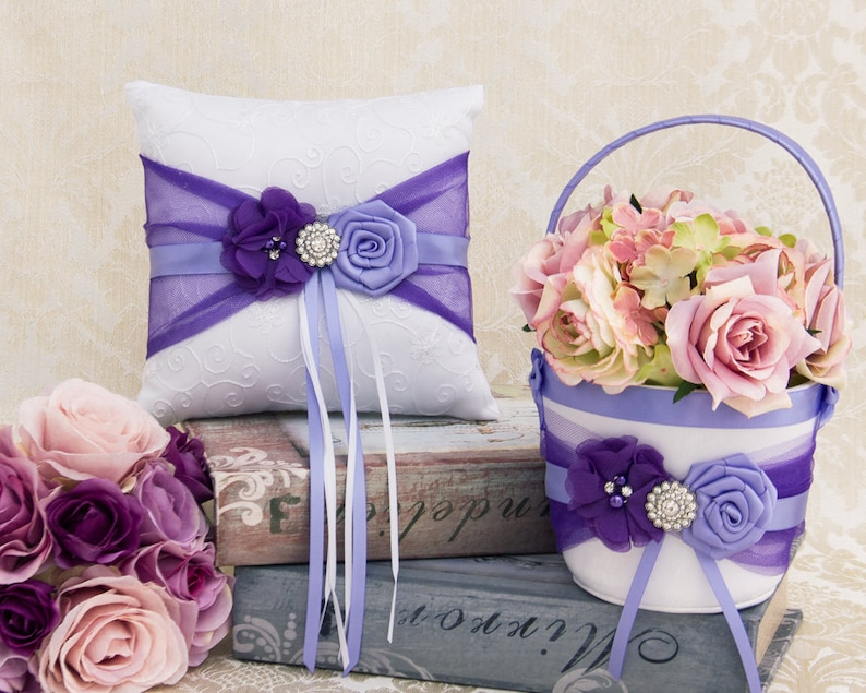 Lavender Flower Girl Basket and Pillow Ring Bearer Pillow Ivory Flower Girl Basket Wedding Ring Pillow Set in Purple