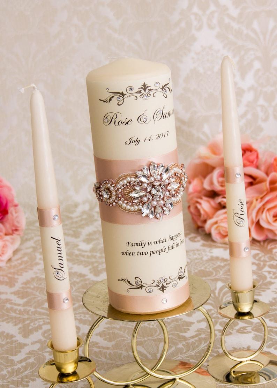 Rose Gold Wedding Unity Candles Set Personalized Unity Candle Set Monogram Wedding Candles Blush Unity Candles
