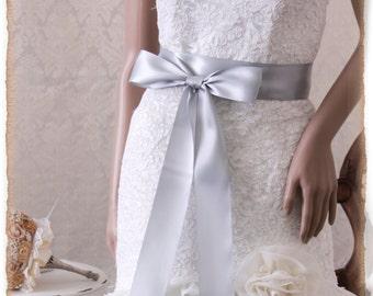 Silver wedding sash belt Bridal sash, SILVER Ribbon Wedding Sash, Satin Ribbon Sash, Silver Bridal Sash, Bridesmaids Sash