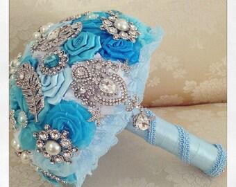 Bridal Brooch Bouquet , Turquoise Bridal Bouquet, Wedding Bouquet, Bridal Accessories, Bridesmaids Flowers