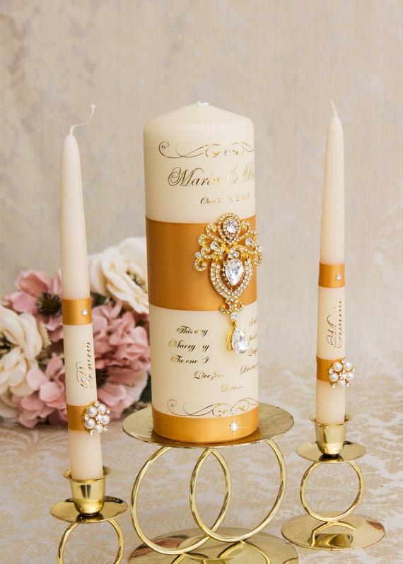 Gold Einheit Kerzen Kerzen Goldene Hochzeit Goldene Hochzeit Einheit Kerze Gesetzt Personalisierte Hochzeit Kerzenset