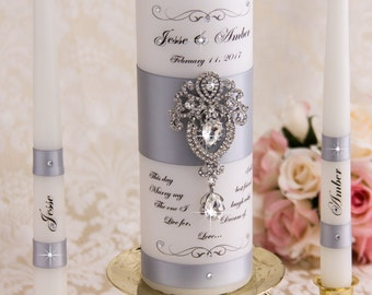 Silver Wedding Unity Candle Set, Personalized Unity Candles Set, Silver Candles, Silver Wedding Candles Set, Custom Wedding Candles