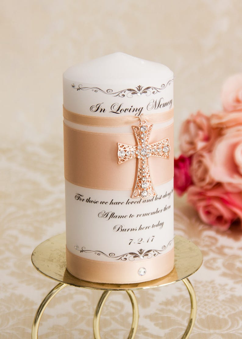 Rose Gold Memorial candle Blush memory candle personalized wedding memorial  candle remembrance candle customized wedding candle