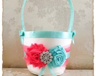 Coral and Aqua Flower Girl Basket