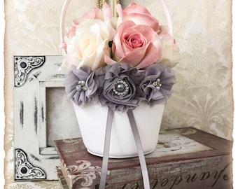 Gray Flower Girl Basket, Flower Girl Basket, Petal Basket, Wedding Decor, Gray Wedding Accessories, Custom Color Wedding