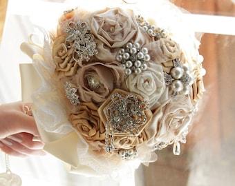 Bridal Brooch Bouquet, CHAMPAGNE Bridal Bouquet, Wedding Bouquet, Bridal Accessories, Bridesmaids Flowers