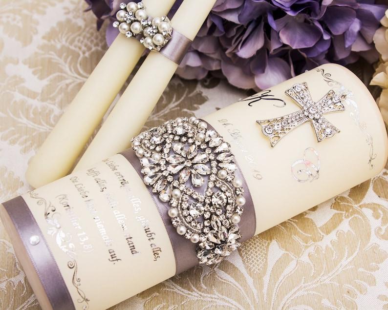 Wedding Unity Candle Set in Silver Personalized Wedding Candles Gold Crystal Unity Candle Set for Church Wedding