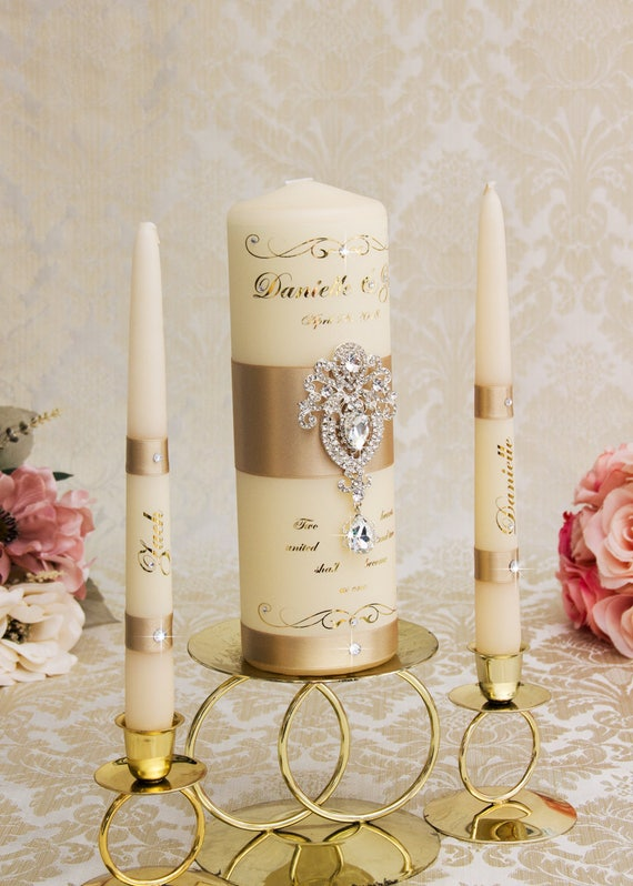 Goldene Hochzeit Einheit Kerzen Gold Hochzeitskerzen Champagner Hochzeit Einheit Kerze Gesetzt Personalisierte Hochzeit Kerzenset