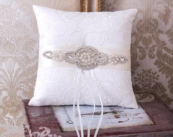 Wedding Ring Bearer Pillow, Wedding Ring Pillow, Rhinestone Wedding Pillow, Crystal Wedding Accessories