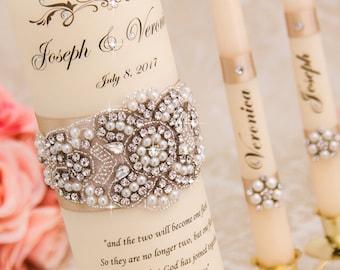 Pearl Wedding Unity Candle Set, Champagne Wedding Candles Set, Champagne Unity Candle Set, Personalized Wedding Candle Set