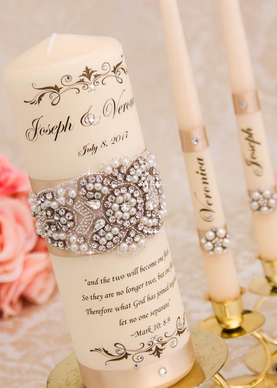 Pearl Wedding Unity Candle Set Champagne Wedding Unity image 0