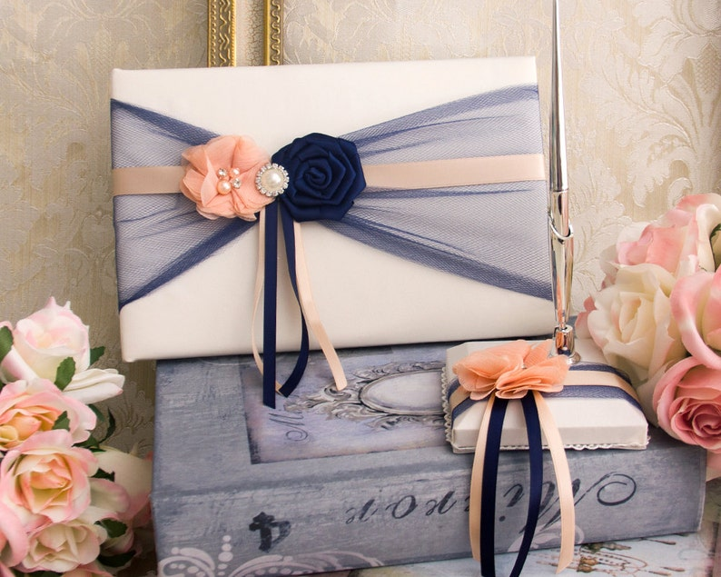 Navy And Blush Wedding.Custom Wedding Guest Book With Pen Holder Navy Blush Guest Book Navy Blush Wedding Pen Holder Personalized Wedding Guest Book Idea