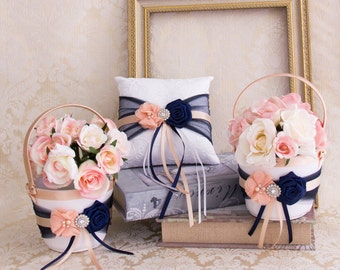Blush and Navy Blue Flower Girl Basket and Ring Bearer Pillow set, Wedding Basket and Pillow Set, Navy and Blush Wedding Accessories