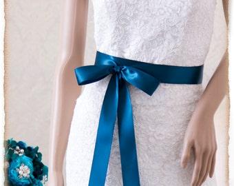 TEAL Bridal Sash, Satin Ribbon Sash, Wedding Sash, Satin Ribbon Sash, Bridal Belt, Bridesmaids Sash