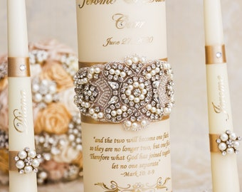 Pearl Wedding Unity Candle Set, Champagne Wedding Unity Candles Personalized Wedding Candle Set Wedding Décor