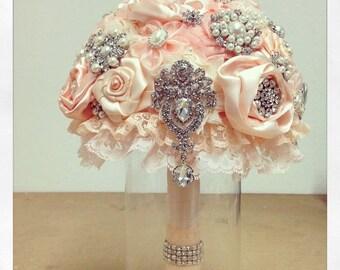Bridal Brooch Bouquet, Powder Pink Bridal Bouquet, Wedding Bouquet, Bridal Accessories, Bridesmaids Flowers
