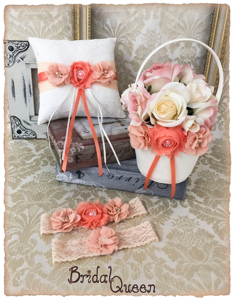 Wedding Ring Bearer Pillow Wedding Ring Pillow Peach Coral Wedding Pillow Peach Wedding Accessories