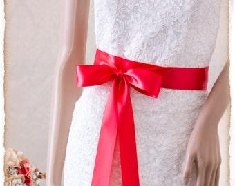 DARK CORAL Bridal Sash, Satin Ribbon Sash, Wedding Sash Belt, Satin Wedding Sash, Bridesmaids Sash, Bridal Belt