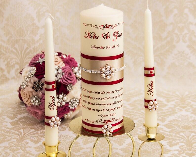 Wedding Candles Set Blush Wedding Unity Candles Rose Gold Wedding Candles Personalized Unity Candle Set