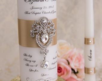 Wedding Unity Candle Set, Unity Candles Set, Personalized Unity Candles, Champagne Wedding Candles Set, Custom Wedding Candles