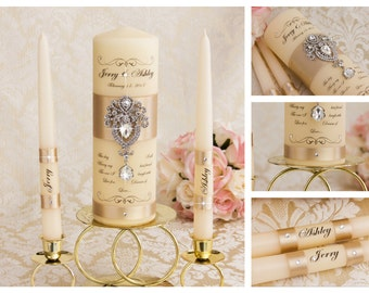 Champagne Unity Candles, Personalized Wedding Unity Candles Ceremony Crystal Unity Candles Set, Champagne Weding Candles Set, Custom color