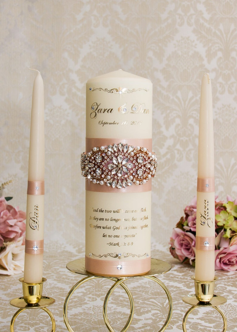 Rose Gold Unity Candle Set Rose Gold Wedding Unity Candles image 0