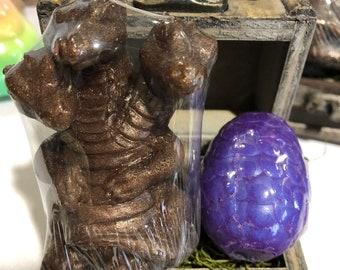 Dragon Soap / Three-Headed Dragon Soap / Dragon Soap Set / Mythical Creature Soap / DND SOAP / 4 oz / Glycerin